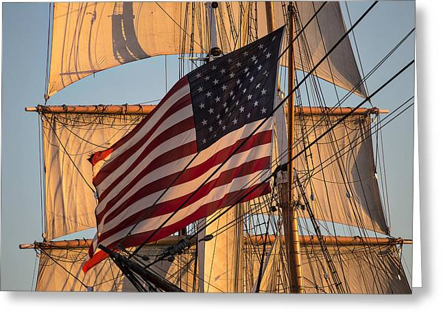 The Embarcadero Greeting Cards - Old Glory Greeting Card by Peter Tellone