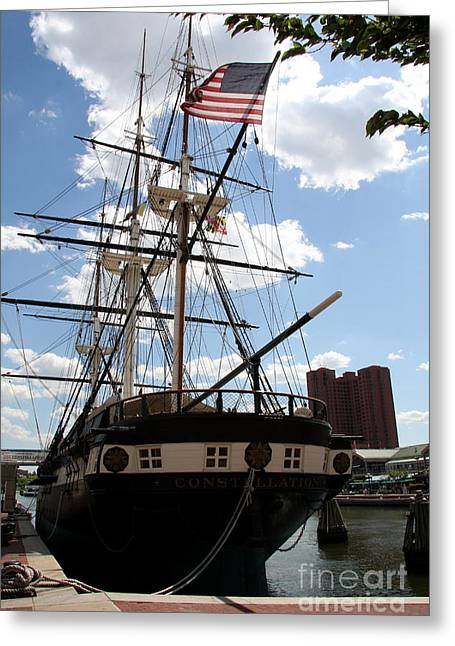 Historic Ship Greeting Cards - Old Glory - USS Constellation Greeting Card by Christiane Schulze Art And Photography