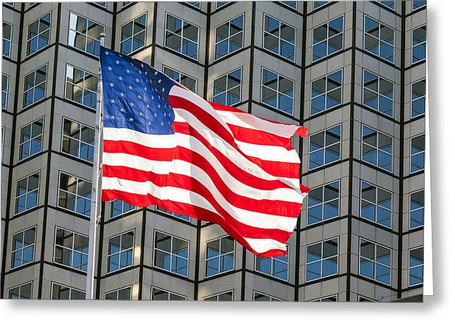 Proudly Waving Greeting Cards - Old Glory Waves Proudly Greeting Card by Lynn Palmer
