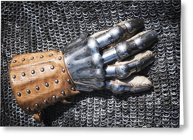 Old glove of a medieval knight Greeting Card by Matthias Hauser