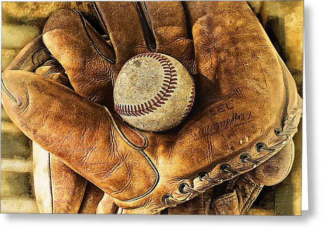 Baseball Glove Greeting Cards - Old Gloves Greeting Card by Ron Regalado