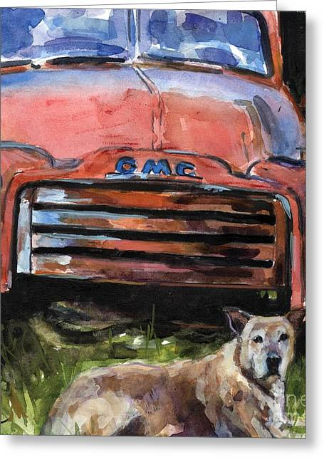 Antique Truck Greeting Cards - Old Gold Greeting Card by Molly Poole