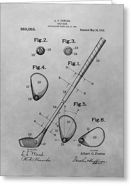 Chipper Greeting Cards - Old Golf Club Patent Illustration Greeting Card by Dan Sproul