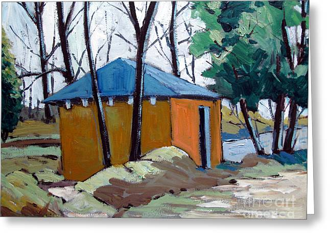 Outbuildings Greeting Cards - OLD GOLF COURSE SHED No.5 Greeting Card by Charlie Spear