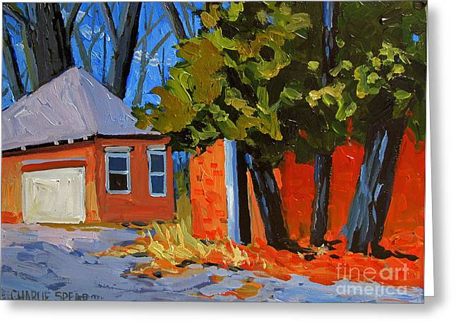 Shed Paintings Greeting Cards - Old Golf Course Sheds Greeting Card by Charlie Spear