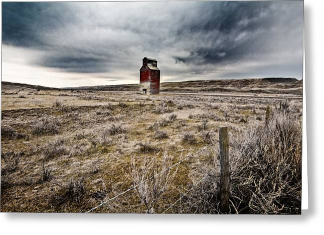 Canadian Prairies Greeting Cards - Old Grain Elevator, Dorothy, Alberta Greeting Card by Steve Nagy