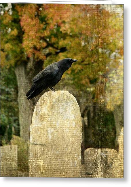 Ravens In Graveyard Greeting Cards - Old Graveyard And Crow Greeting Card by Gothicolors Donna Snyder