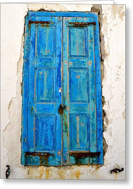 Weathered Shutters Greeting Cards - Old Greek Shutter Greeting Card by Corinne Rhode