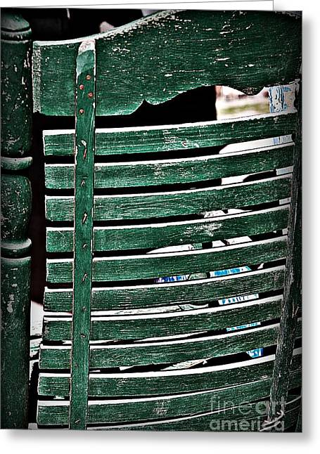 Ladder Back Chairs Greeting Cards - Old Green Chair Greeting Card by JW Hanley