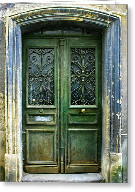 French Door Greeting Cards - Old Green Door Greeting Card by Georgia Fowler