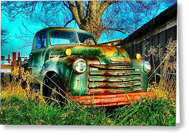 Old Trucks Greeting Cards - Old Green Greeting Card by Julie Dant