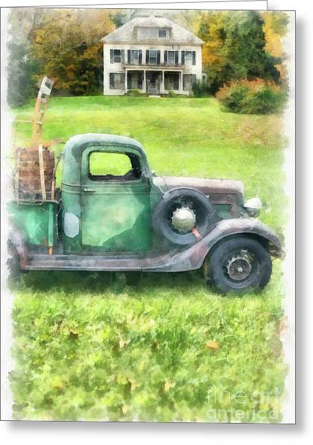 Old Pickup Greeting Cards - Old Green Pickup Truck Greeting Card by Edward Fielding