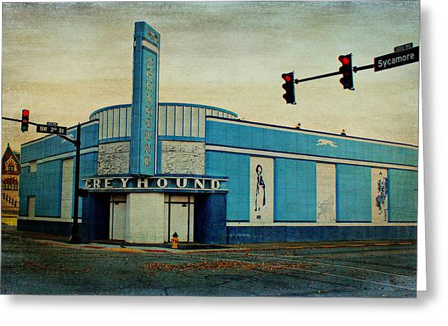 Greyhound Photographs Greeting Cards - Old Greyhound Bus Station Greeting Card by Sandy Keeton