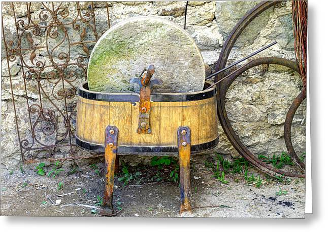 Mechanism Photographs Greeting Cards - Old grindstone Greeting Card by Ivan Slosar