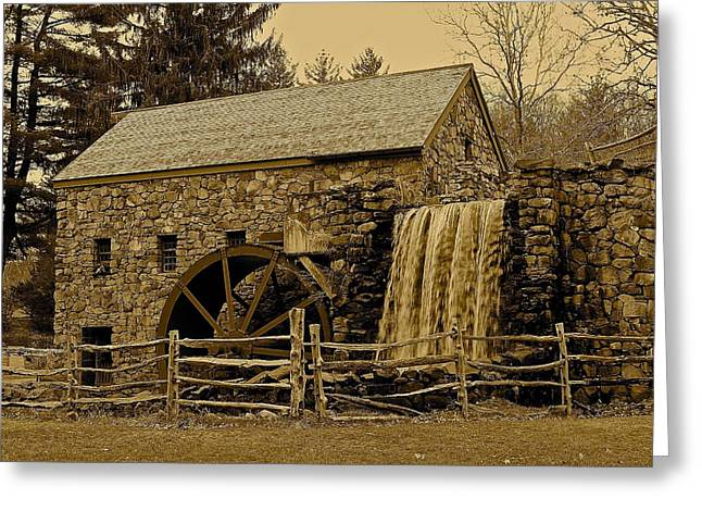 Sudbury Ma Photographs Greeting Cards - Old Grist Mill Greeting Card by Michael Saunders