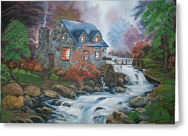 Grist Mill Paintings Greeting Cards - Old Grist Mill Greeting Card by Sharon Duguay