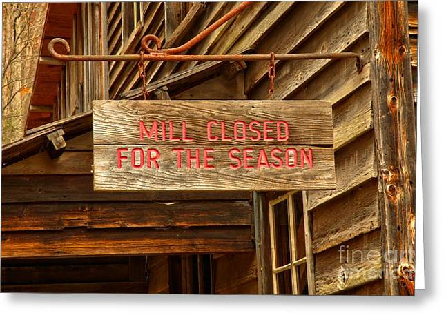 Wooden Building Greeting Cards - Old Grist Mill Sign Greeting Card by Adam Jewell