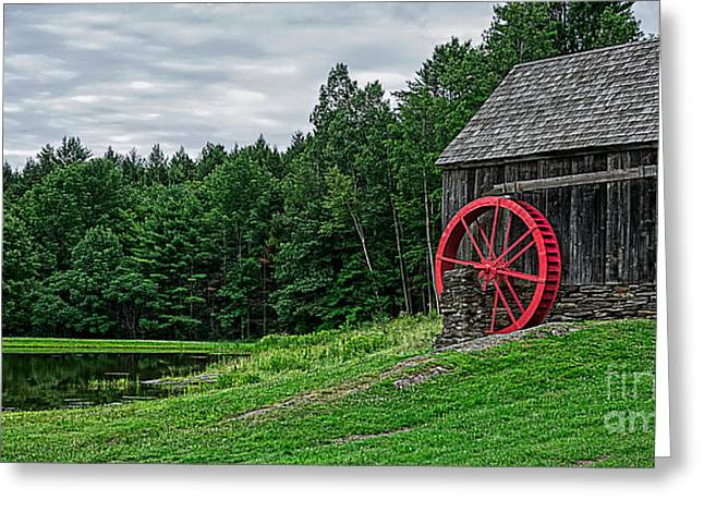 Old Grist Mill Vermont Red Water Wheel Greeting Card by Edward Fielding
