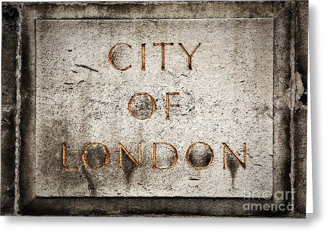 Milestone Greeting Cards - Old grunge stone board with City of London text Greeting Card by Michal Bednarek