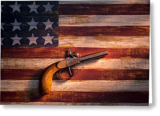 American Folk Art Greeting Cards - Old gun on folk art flag Greeting Card by Garry Gay