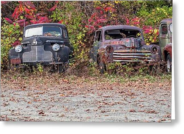 Vintage Automobiles Greeting Cards - Old Guys Rule Panoramic Greeting Card by Edward Fielding