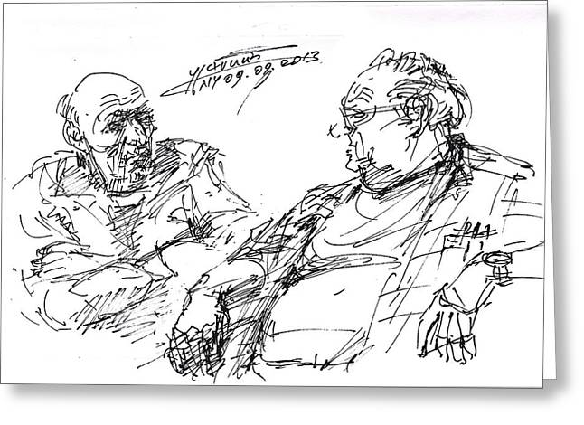 Talking Drawings Greeting Cards - Old Guys  Greeting Card by Ylli Haruni