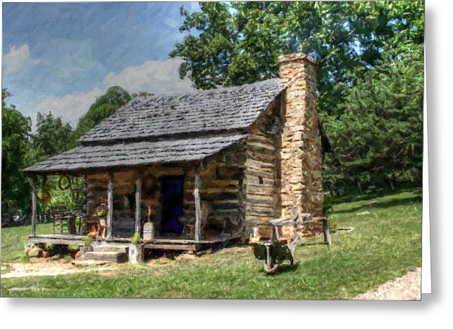 Pan Cakes Greeting Cards - Old Hand Built House with Blue Door Greeting Card by Michael Braham