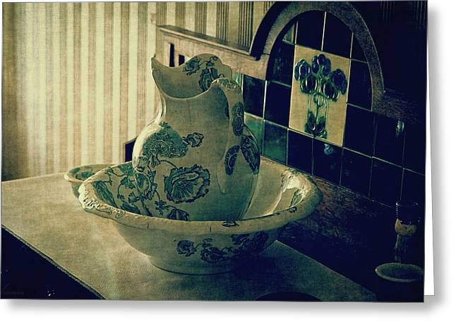 Vintage China Greeting Cards - Old Hand Washer Greeting Card by Maria Angelica Maira