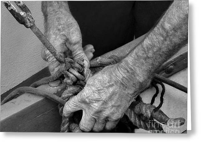 Working Dog Greeting Cards - Old Hands and the Sea.BW Greeting Card by Jennie Breeze
