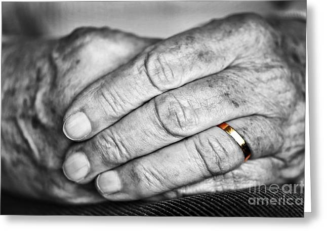 Gold Ring Greeting Cards - Old hands with wedding band Greeting Card by Elena Elisseeva