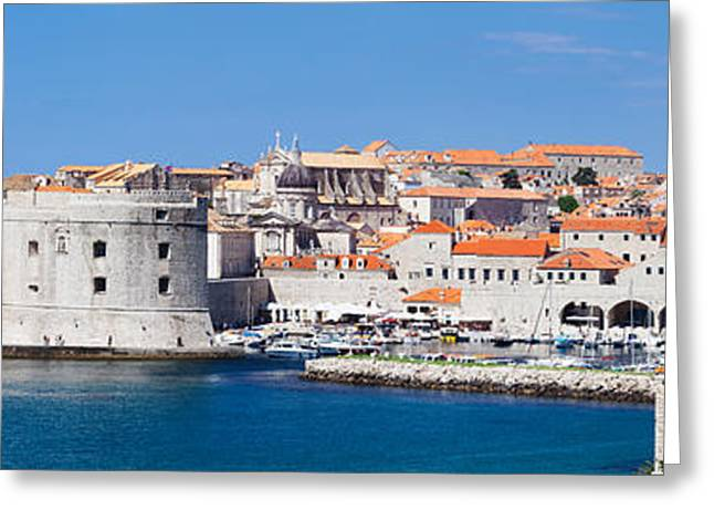 Dubrovnik Greeting Cards - Old Harbor And Old Town Of Dubrovnik Greeting Card by Panoramic Images