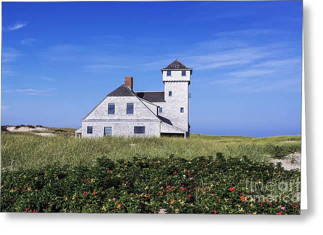 Beach Roses Greeting Cards - Old Harbor Life Saving Museum Greeting Card by John Greim
