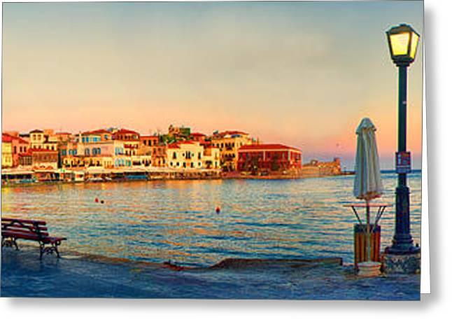 Greece Photographs Greeting Cards - Old Harbour in Chania Crete Greece Greeting Card by David Smith