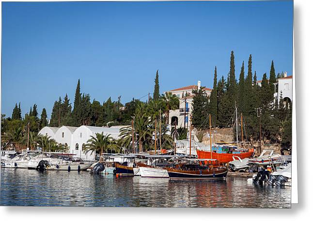Habor Greeting Cards - Old harbour in Spetses Town Greeting Card by Paul Cowan