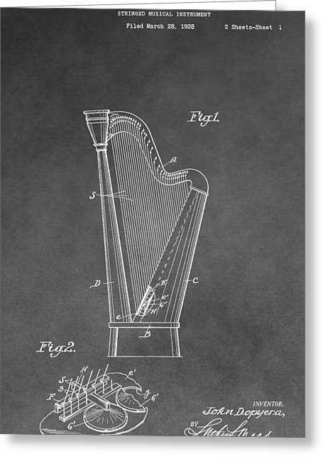Single Drawings Greeting Cards - Old Harp Patent Greeting Card by Dan Sproul