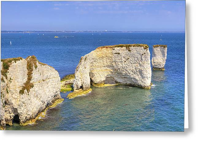 Old Harry Rocks - Purbeck Greeting Card by Joana Kruse