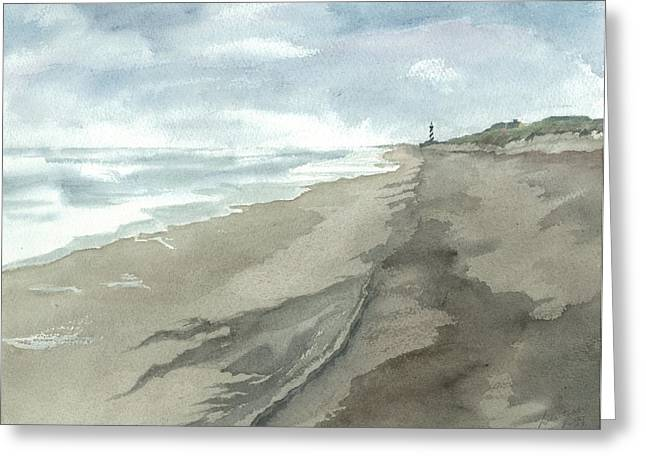 Old Hatteras Light Greeting Card by Joel Deutsch