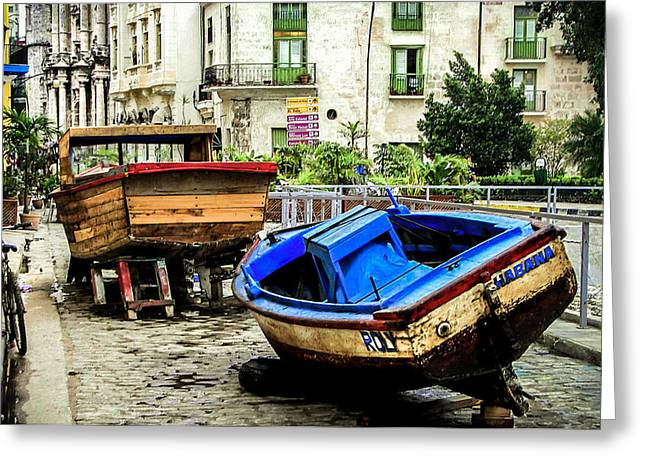 Docked Boats Greeting Cards - Old Havana Greeting Card by Karen Wiles