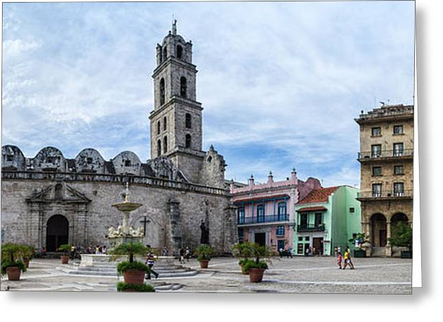 Historic Home Greeting Cards - Old Havana with a view of fuentes los Leones Church Greeting Card by Frank Bach