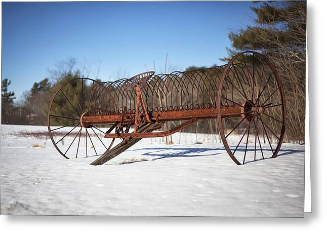 Hay Rake Greeting Cards - Old Hay Rake Greeting Card by Eric Gendron