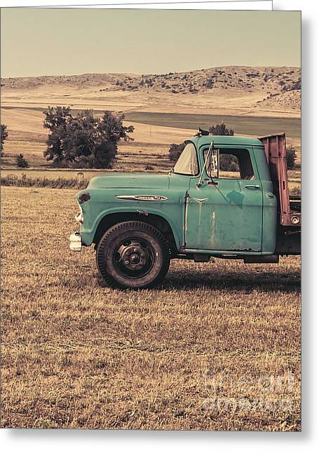 Old Trucks Greeting Cards - Old Hay truck in the field Greeting Card by Edward Fielding