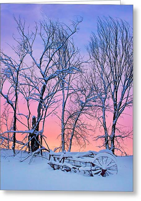 Hay Rake Greeting Cards - Old Hayrake - Winter Sunset Greeting Card by Nikolyn McDonald