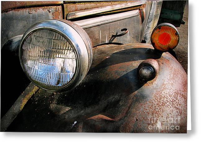 Rusty Pickup Truck Greeting Cards - Old Headlights Greeting Card by Colleen Kammerer