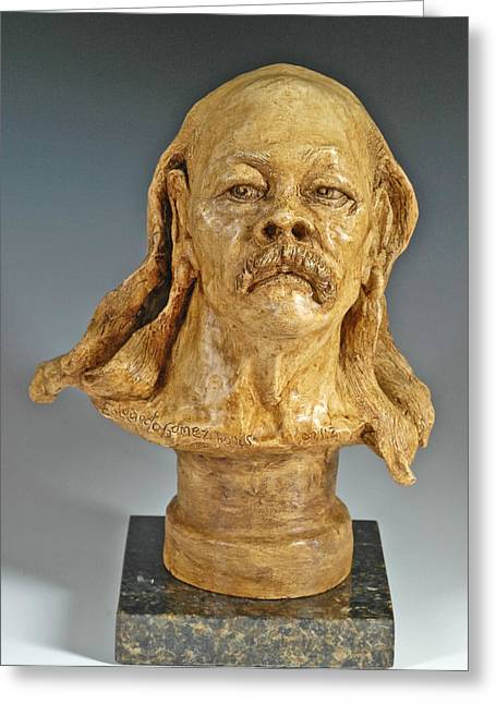 Figurative Sculptures Greeting Cards - Old Hippie Greeting Card by Eduardo Gomez