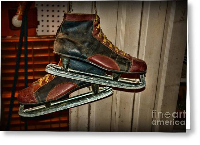 Antique Skates Greeting Cards - Old Hockey Skates Greeting Card by Paul Ward