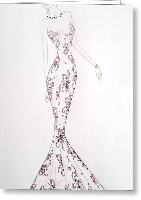 Evening Dress Mixed Media Greeting Cards - Old Hollywood  Greeting Card by Christine Corretti