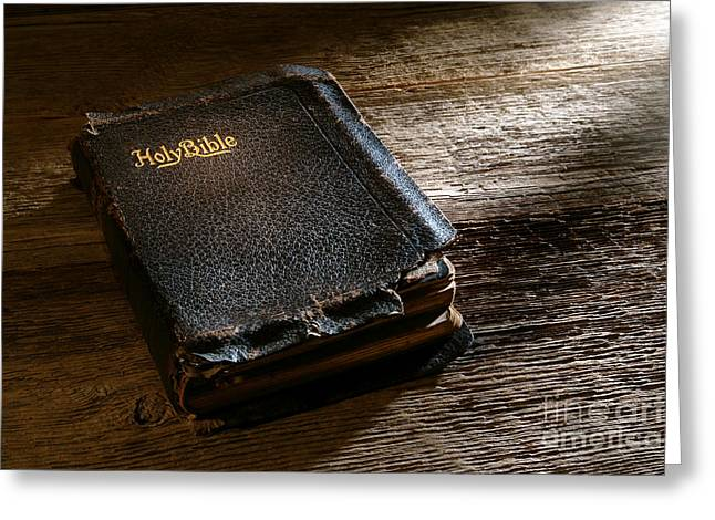 Bible Greeting Cards - Old Holy Bible Greeting Card by Olivier Le Queinec