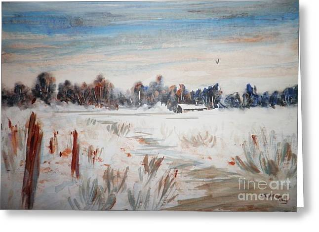 Old Fence Posts Paintings Greeting Cards - Old Homestead In Winter Greeting Card by Suzanne McKay