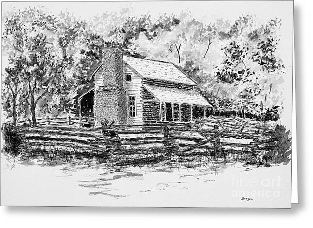 Old Cabins Drawings Greeting Cards - Old Homestead Greeting Card by Judy Sprague