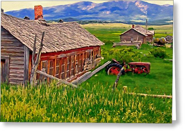 Canyon Ferry Lake Greeting Cards - Old Homestead Near Townsend Montana Greeting Card by Michael Pickett